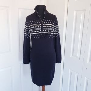Moda Intl Fair Isle Nordic Sweater Dress Black Zip